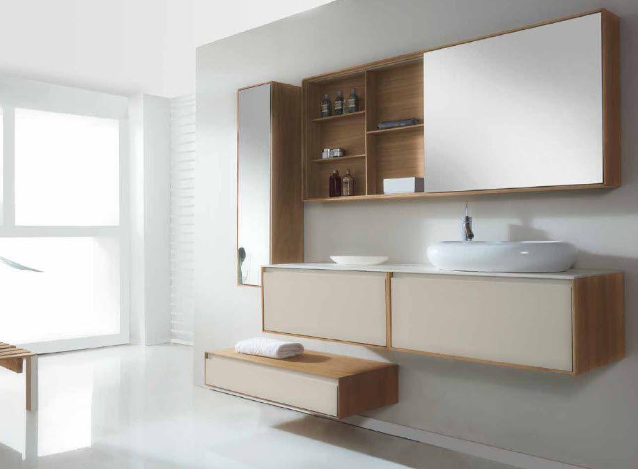 Mueble de ba o dos muebles en nogal blanco con gris hielo for Cuartos de bano famosos