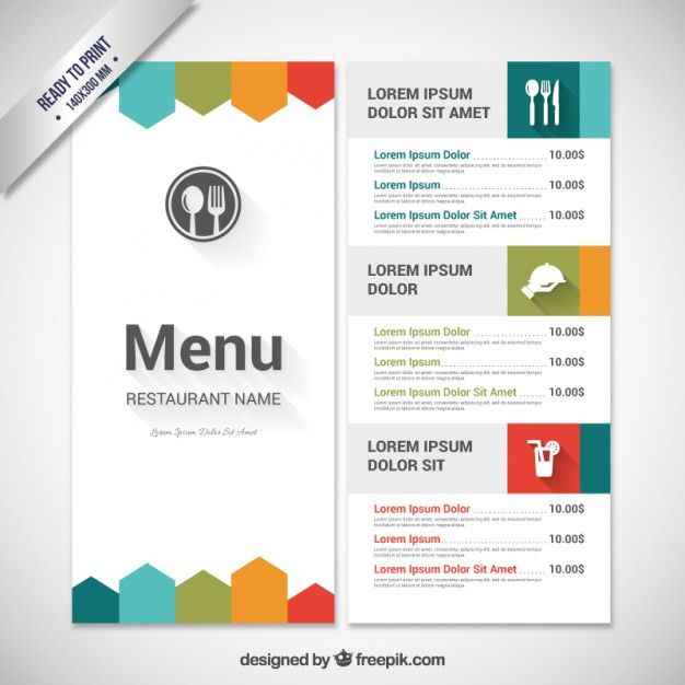 Colorful menu template Vector Free Download Work baby - food menu template