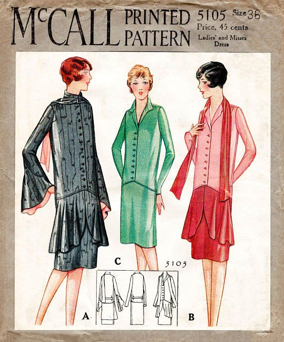 1920s 20s flapper dress vintage sewing pattern reproduction // three ...