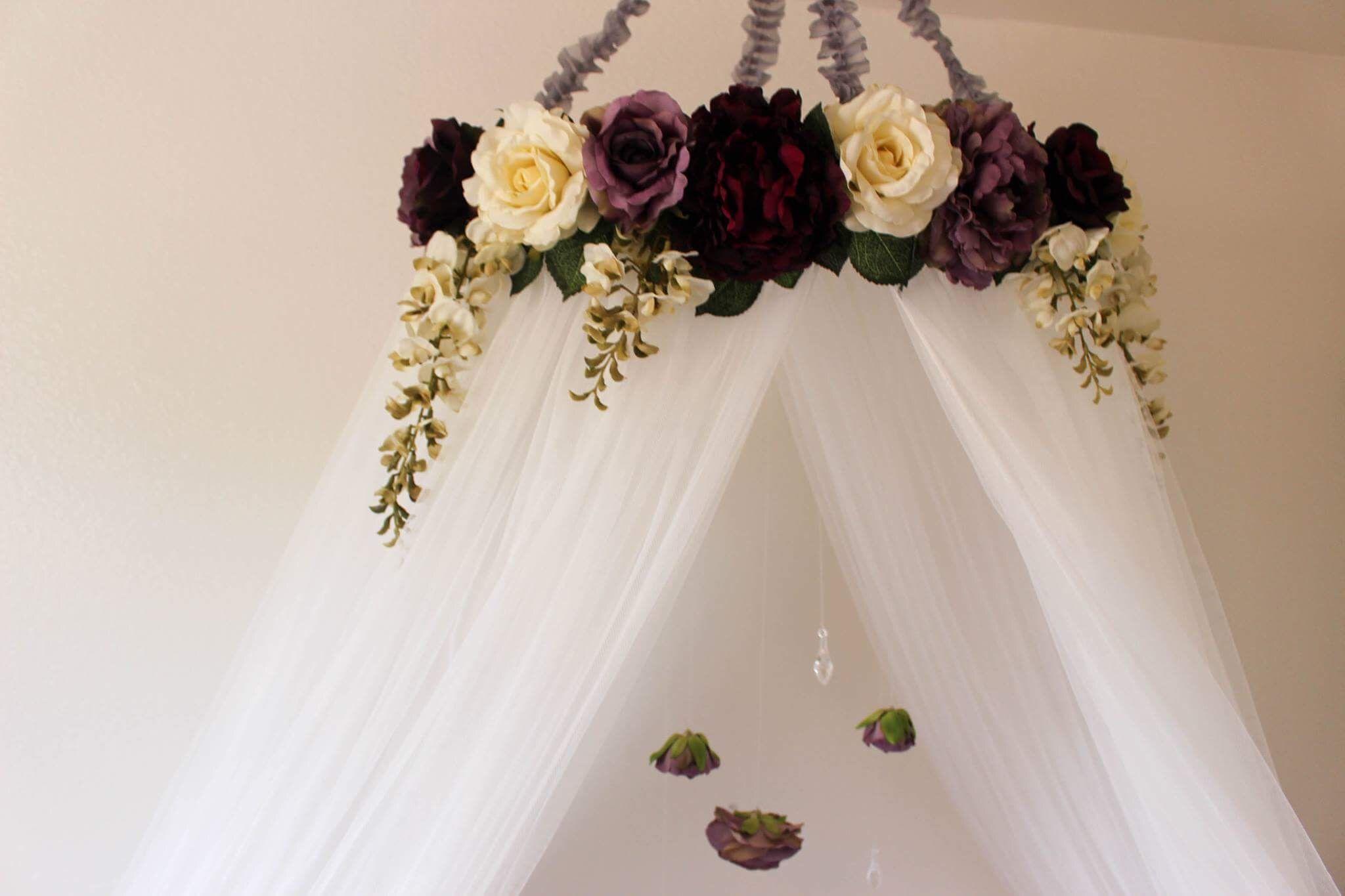 Beautiful And Serene Crib Canopy Purple And White Flowers Hanging