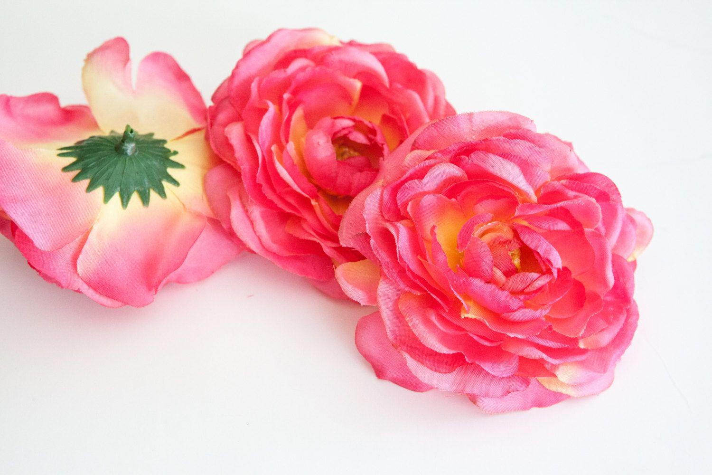 Silk Flower Set Of 3 Ranunculus In Hot Pink Silk Artificial Flowers Read Description Item 0439 Silk Flowers Flowers Artificial Flowers
