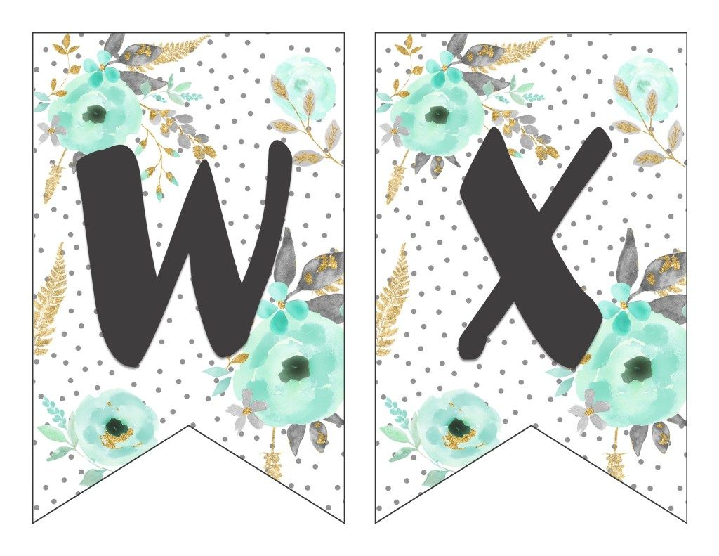 image about Free Printable Alphabet Banner identify No cost Printable Alphabet Banner MINT GOLD Lettering