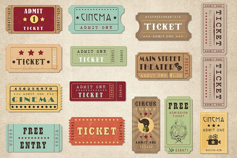 Retro Tickets Clipart Vintage Show Circus Cinema Theatre Movie And Entertainment Clip Art Clip Art Vintage Clip Art Vintage Ticket