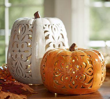 Filigree Punched Ceramic Pumpkins Pottery Barn Ceramics Pottery