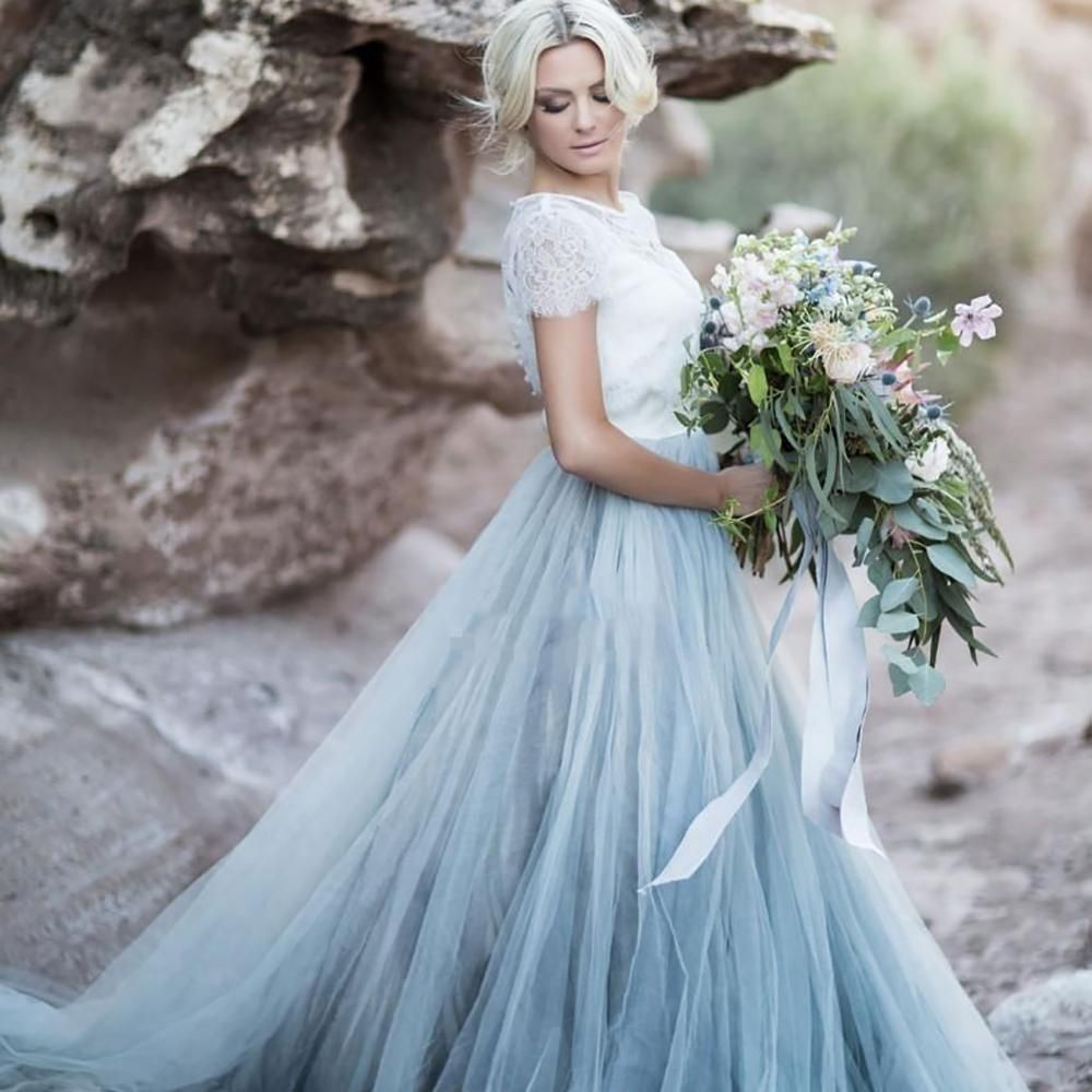 Cheap high quality wedding dress sky blue lace bride dress