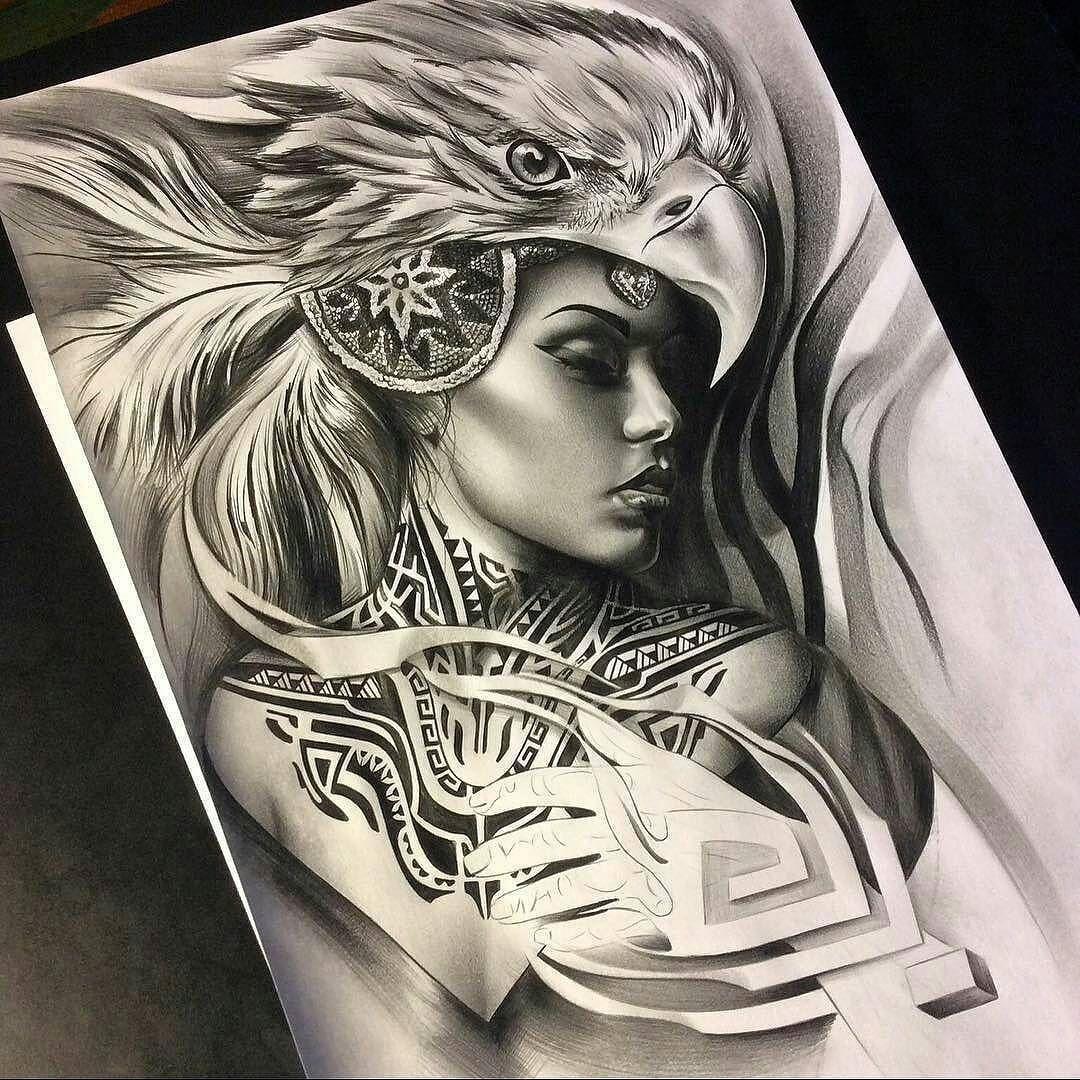 Aztec styled drawing of @teya_salat love the neck tattoo ...