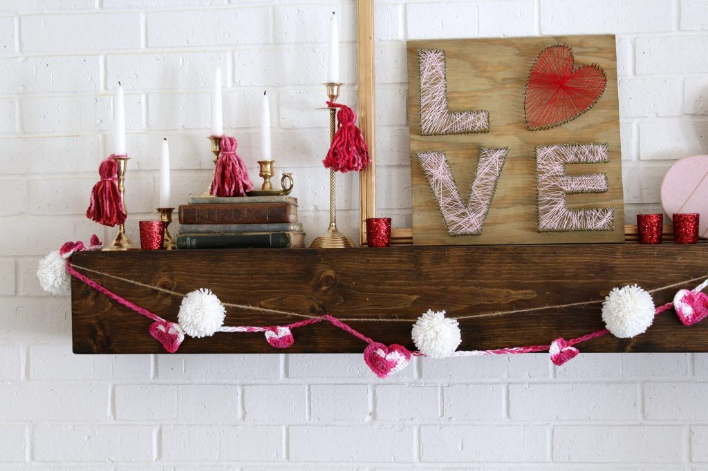Tassels on the brass candlesticks dresses them up for Valentine's Day.
