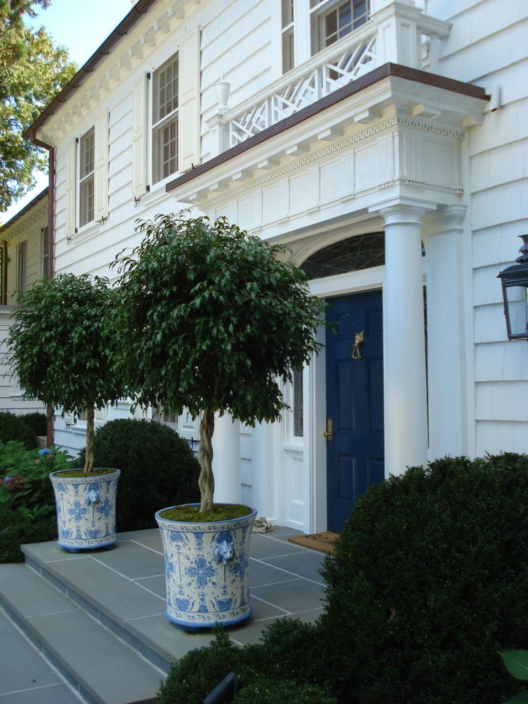 Magnificent Topiaries In Entry Traditional With Tall Planter Pot Next To Front Stoop Alongside Porch Railing And Door Planters