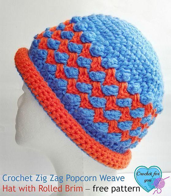 Crochet Patterns Galore - Zig Zag Popcorn Weave Hat | Scarves, Hats ...