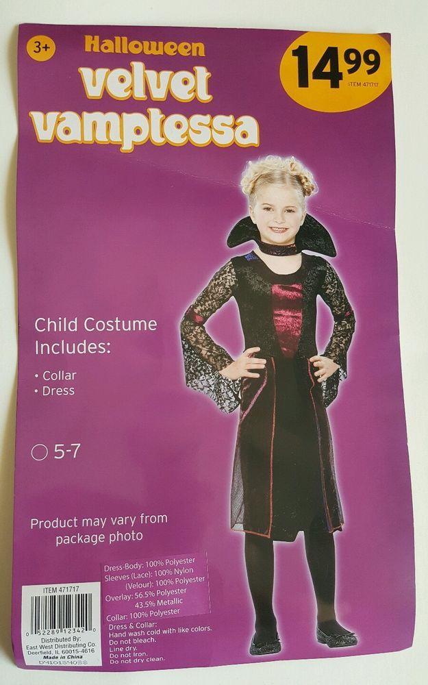 Halloween Velvet Vamptessa Child Costume Size 5-7 Black Purple 2 piece Lace