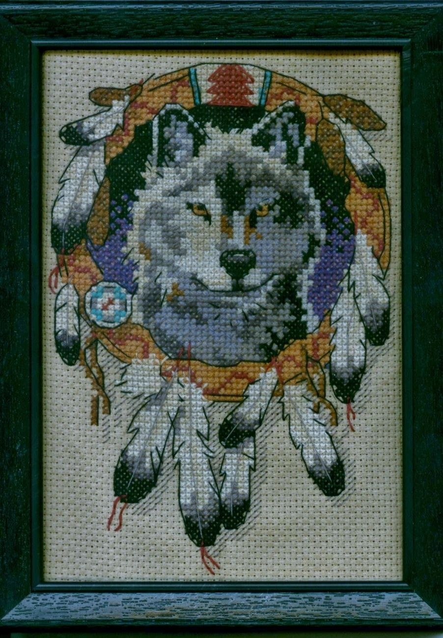 Wolf Native American Indian Mandela Finished Cross Stitch