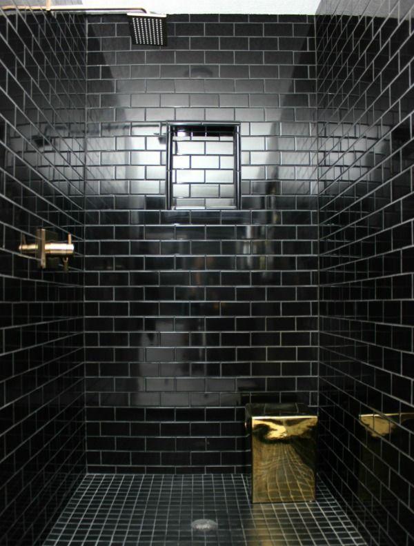The 70 S Landing Pad Home Tour Black Tile Bathrooms Bathroom Remodel Designs Black Bathroom