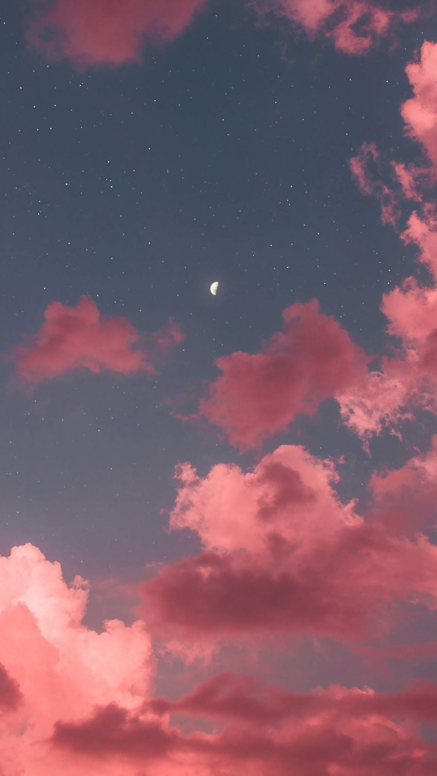 Half Moon In The Pink Sky With Images Pink Moon Wallpaper