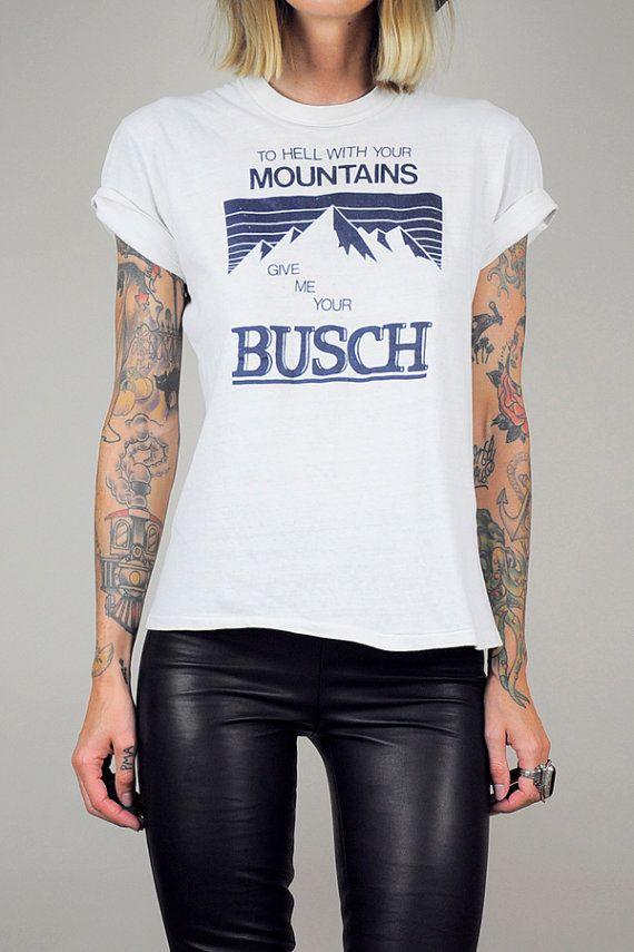 Original vtg BUSCH BEER 70 s T-shirt Paper Thin