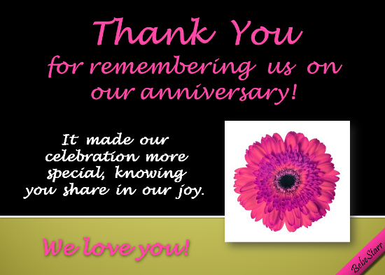 A #ThankYou ecard to send to someone for remembering your