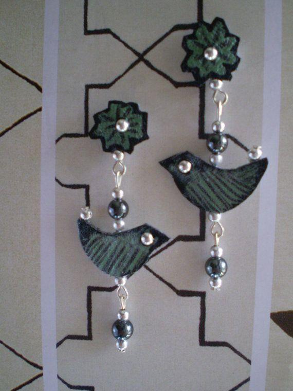 Flower stud earrings with Bird drops in by handcutbymedesigns, £22.00