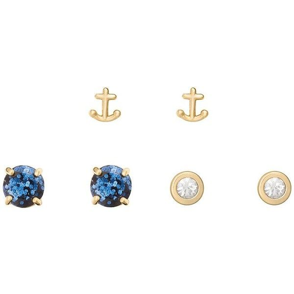 Kate Spade Navy Glitter 3 Piece Stud Set (£54) ❤ liked on Polyvore featuring jewelry, earrings, tri color earrings, stone stud earrings, glitter earrings, stone jewelry and multi colored stud earrings