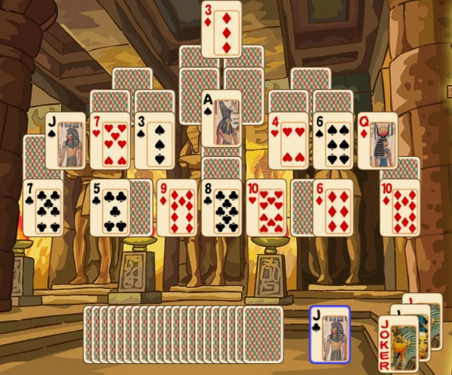 Pyramid Solitaire Game Combine 2 Cards To A Total Value Of 13 An A
