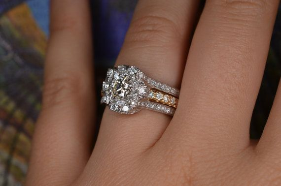Insert Style Wedding Ring And Eternity Band Set 18k White And