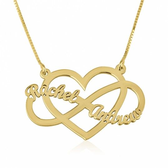 8db9344a446f Collar Infinito Dos Nombres sobre el Corazón en plata chapada en Oro ...