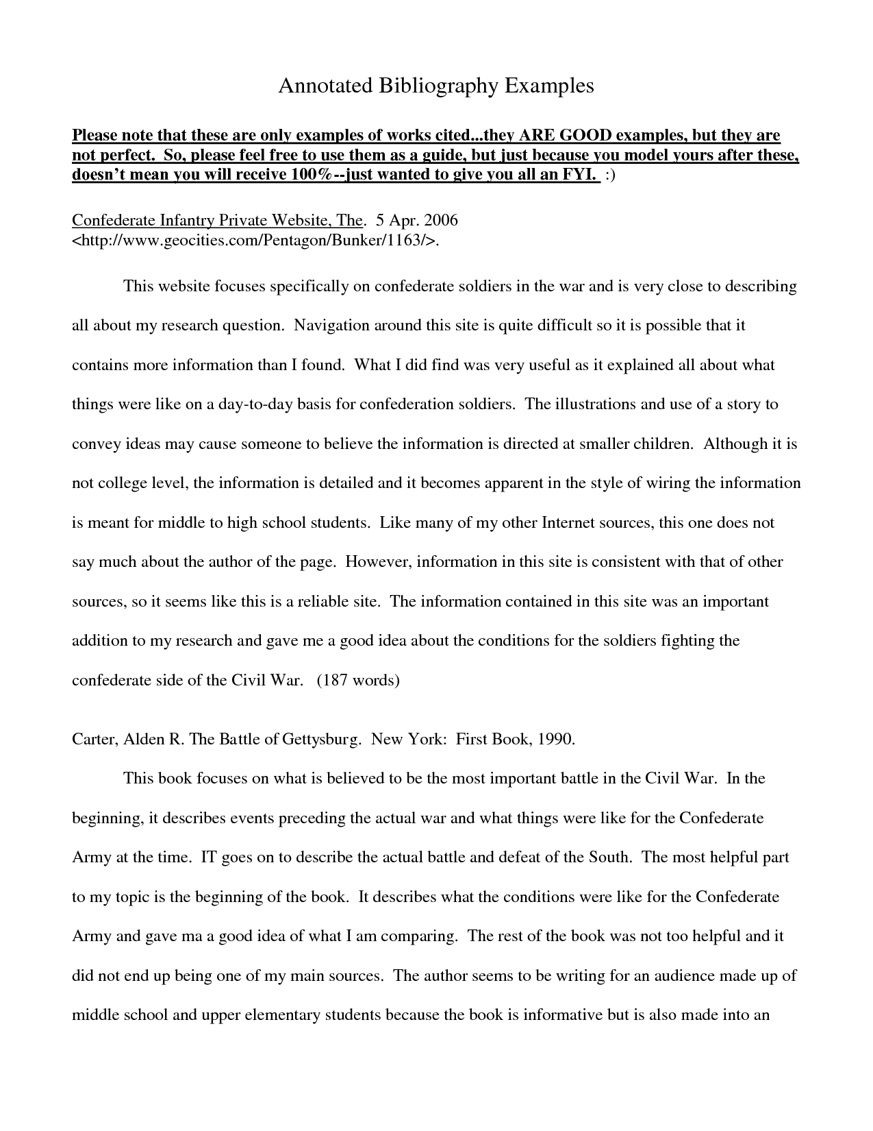 Annotated Bibliographie Example Essay Bibliography Life Story