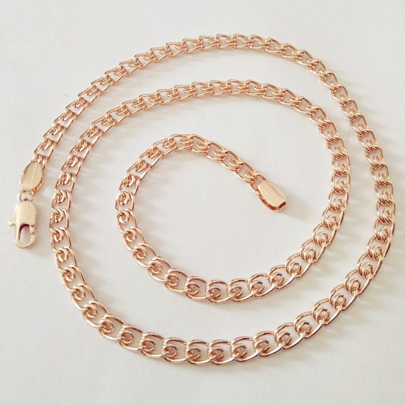 1 Pezzo New Fashion Rosa Color Oro Collana Uomini Gioielli In Rame 5 MM 60 CM Lunga Collana Delle Donne Degli Uomini fabbrica Diretta