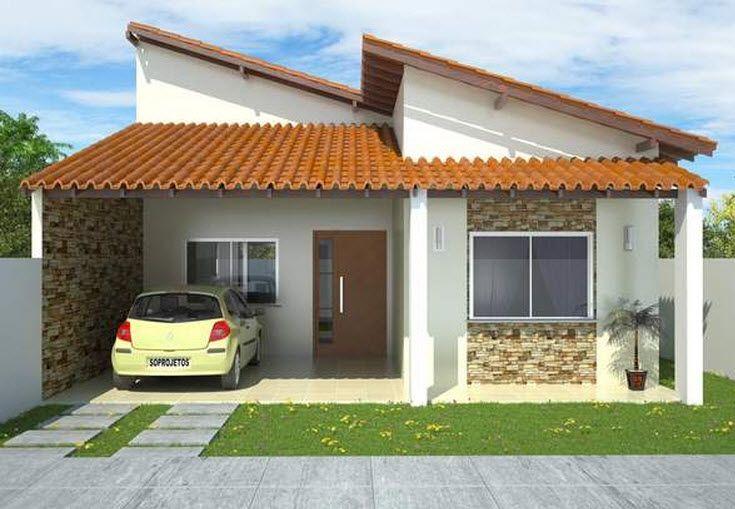 casas de un piso y tres dormitorios planos y fachadas de