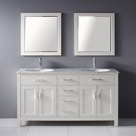 Double Bathroom Vanities Lowes lowes: kenzie white undermount double sink bathroom vanity with