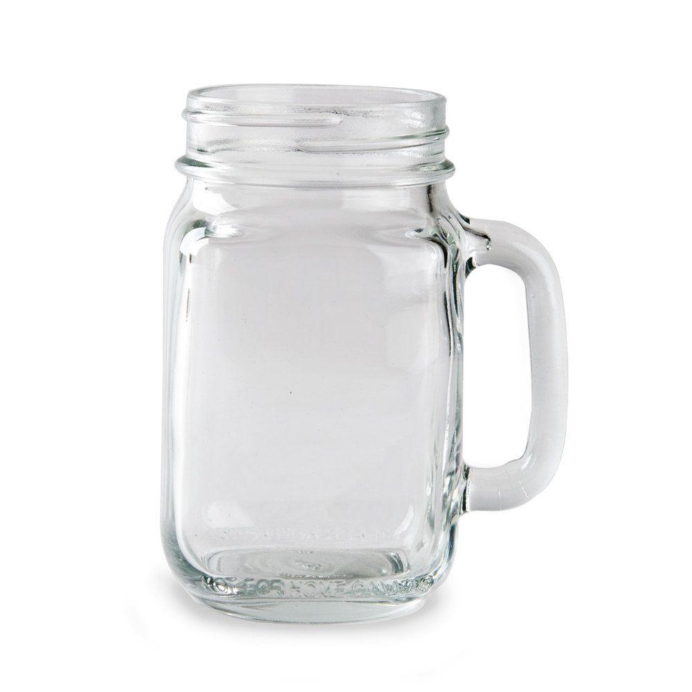 Acopa Rustic Charm 16 Oz Customizable Mason Jar Drinking Jar With Handle 12 Case Mason Jar Mugs Mason Jars With Handles Mason Jar Drinks