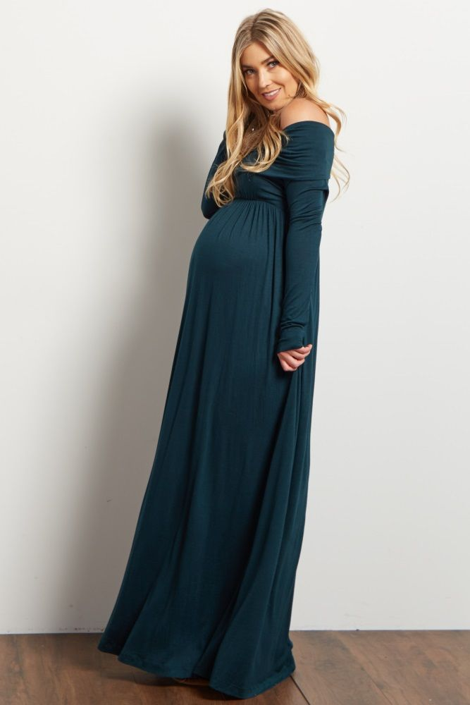 54043031b1cf2 Forest Green Cowl Neck Long Sleeve Maternity Maxi Dress | Yeah Baby ...
