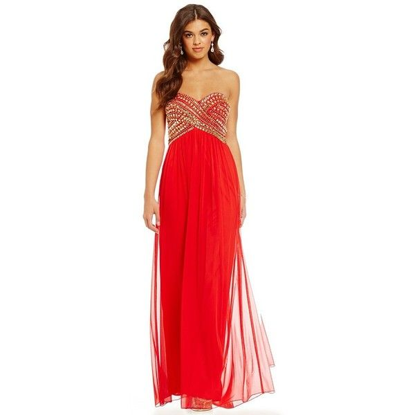 B. Darlin Strapless AB Stone Bodice Gown (€115) ❤ liked on Polyvore ...