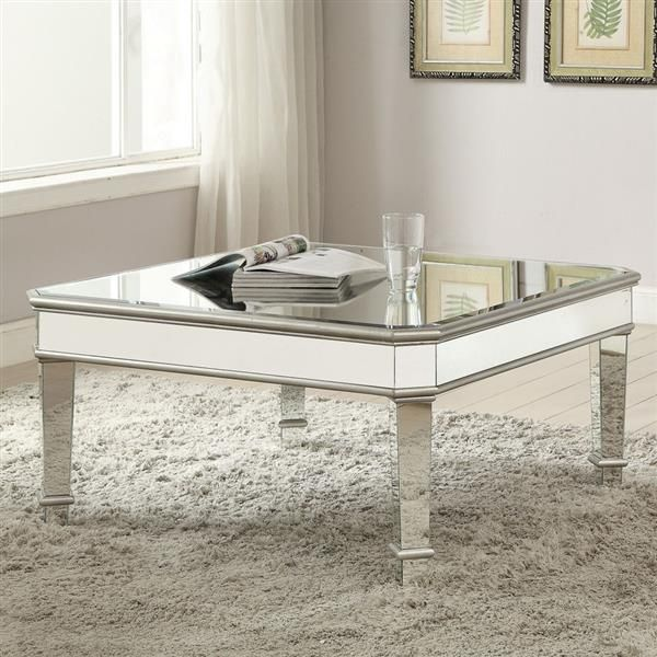 Incroyable Coaster Furniture 703938 Square Mirrored Coffee Table In Silver Finish