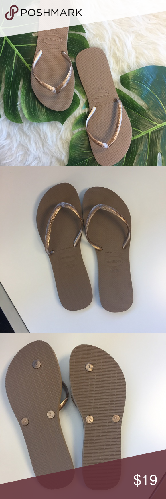4effe4c19ed Bronze havaianas rubber flip flops (slender cut) Worn once. Perfect  condition bronze cold color rubber havaianas flip flops. Slender more  feminine cut.
