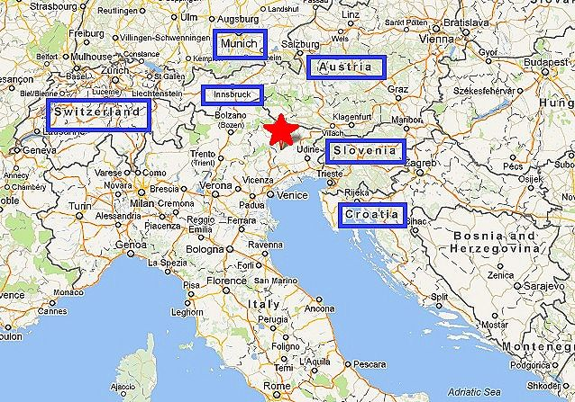 map of italy and surrounding countries   We drove out to Lake Barcis ...