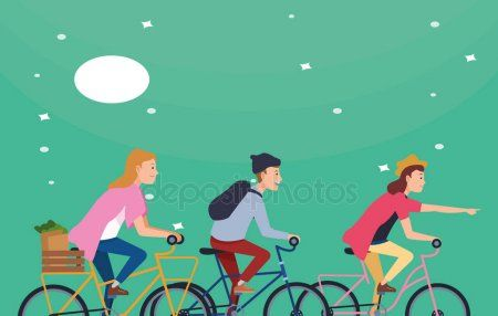 People riding bicycles with accesories  Stock Vector