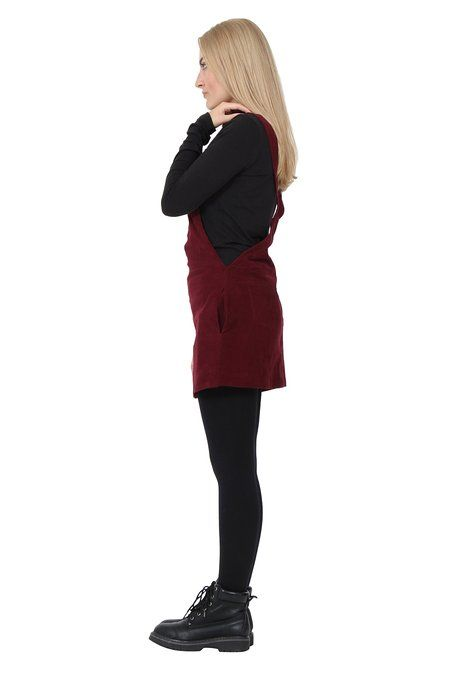 746ca2a41f4 Corduroy Dungaree Dress lightweight burgundy Bib overall skirt ...