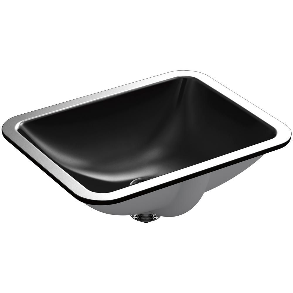 undermount rectangular bathroom sink. KOHLER Caxton Rectangle Undermount Bathroom Sink In Black Rectangular E