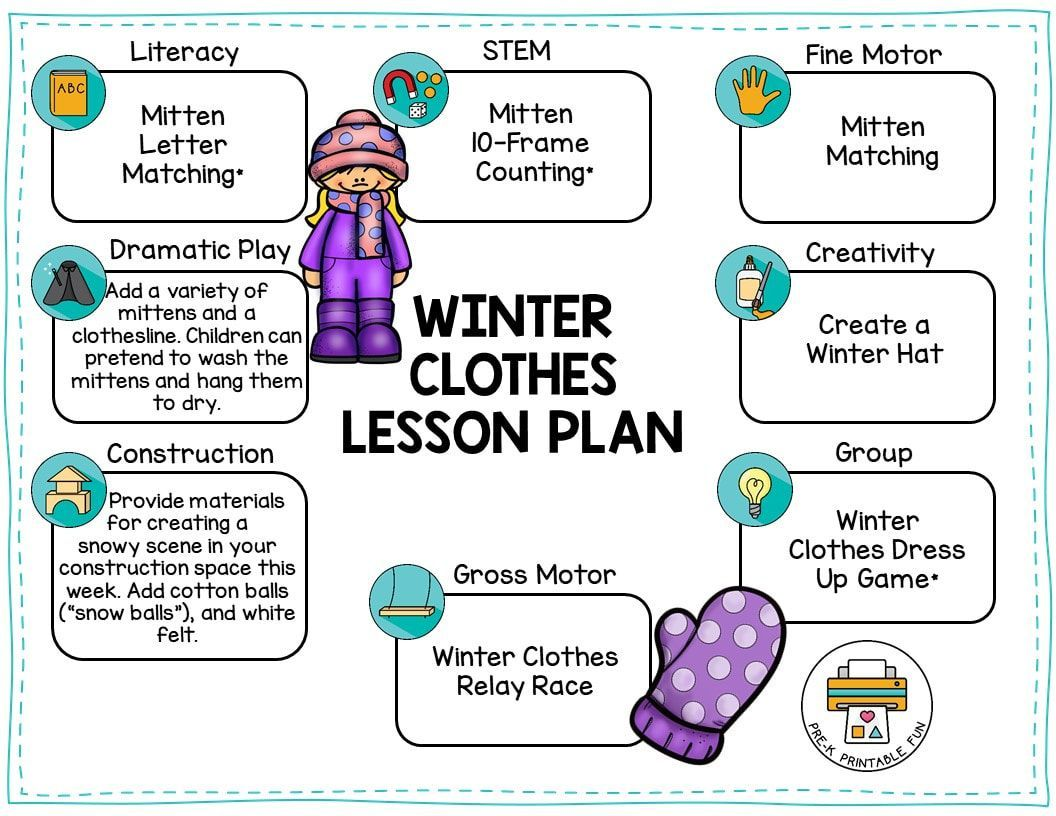 Download this free lesson plan for a Winter Clothes theme