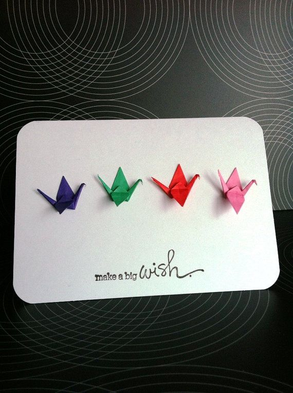 origami crane card with simple words make a big wish