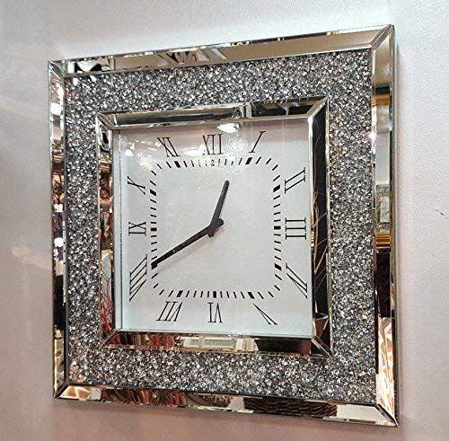 Gatsby Modern Diamante Crystal Mirror Glass Square Wall Clock 50cm Silver 205 Amazon Co Uk Kitchen Home Wall Clock 50cm Mirrored Furniture Decor Wall Clock