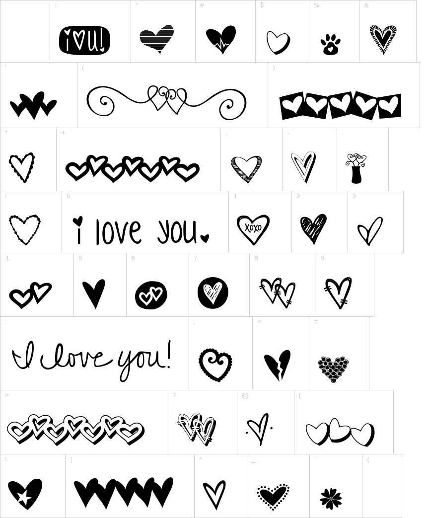 KG Heart Doodles dingbat font Dingbat
