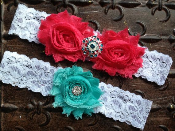Coral Wedding Garter Set, Lace Wedding Garter, Wedding Garter Set, Coral Turquoise Garter