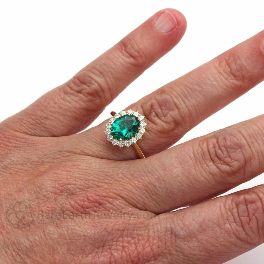 Details about  /Round 1Ct Green Emerald Moissanite Pave Halo Ring Women Jewelry Size 6 7 8 9