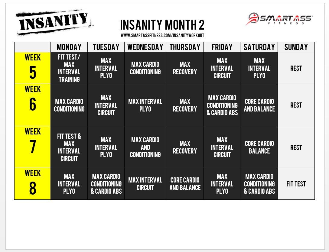 Insanity Workout Schedule  Month   Fitness