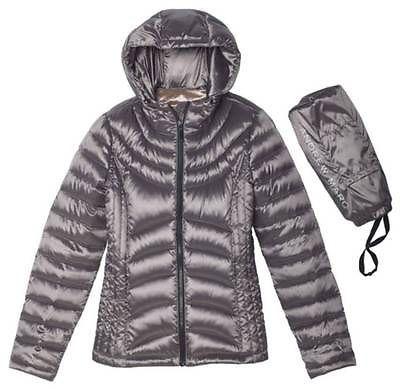 Andrew Marc women's lightweight packable down jacket in grey