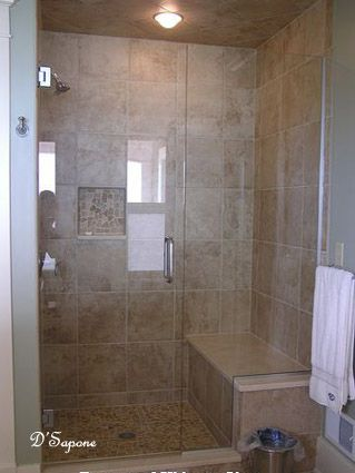Tiled Shower With Bench And Frameless Door Bath