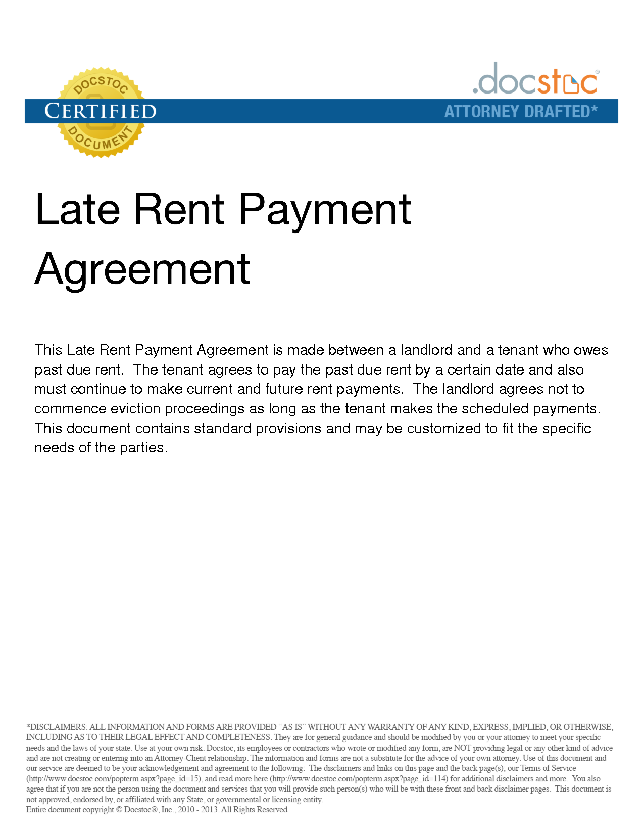 159307296g Late Rent Payment Agreement Legal Documents