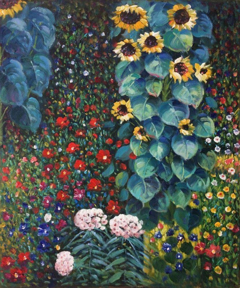 Gustav Klimt Farm Garden with Sunflowers Fine Art Giclee/' CANVAS print 18x24 in