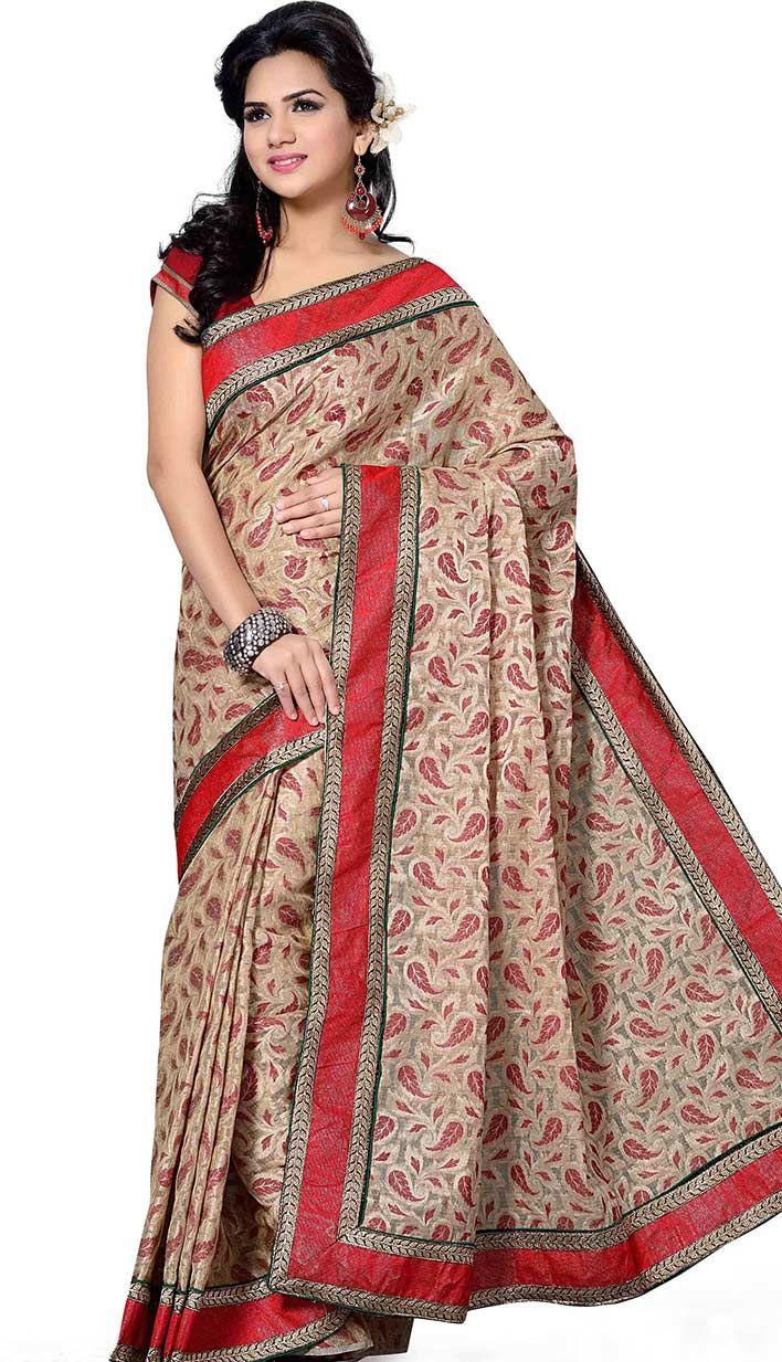 Select the Latest Beautiful Latest Fawn Jute Jacquard Casual Saree Online   #Price INR- 3990 Link- http://alturl.com/qhyep