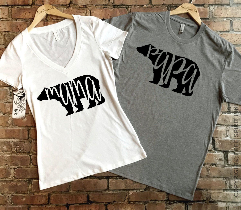 Mama Bear and Papa Bear t-shirt set, Mama Bear Shirt, Papa Bear Shirt, Couples Shirts, Mom And Dad Shirts, Pregnancy Announcement,